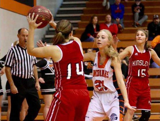 Brooke Butler applies pressure on  defense.