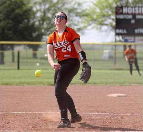 Mattie Glover stikes out a Hoisington batter to end the inning.