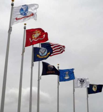 US and military flags