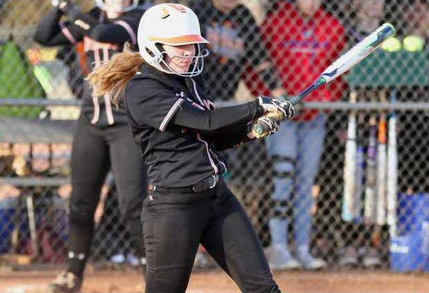 Lynzi Myrick picks up a double on a hard hit to the outfield.