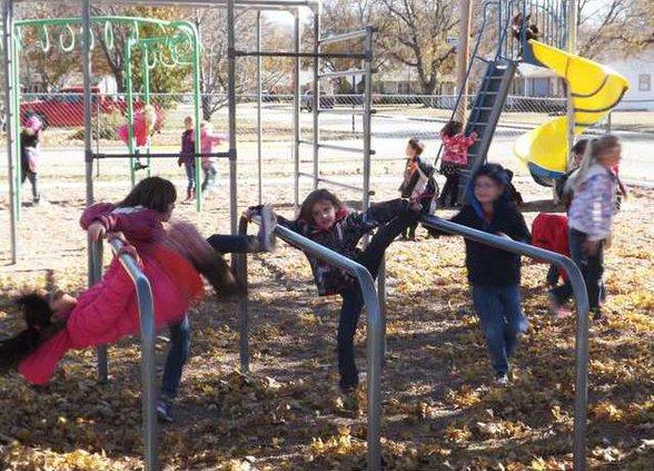 ell kl student on playground