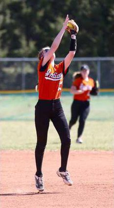 Larned 2B Abby Towery secures a pop fly.