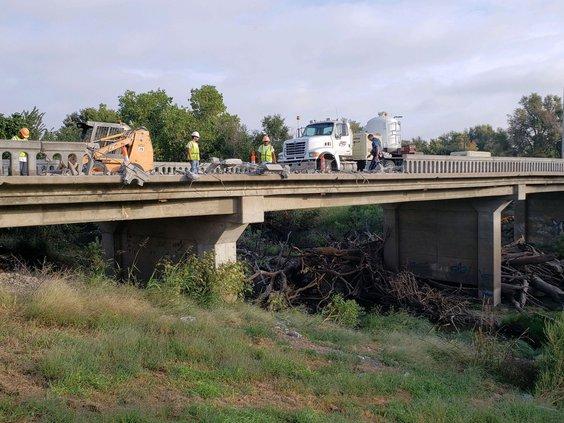 Pawnee River Bridge damaged 9-19