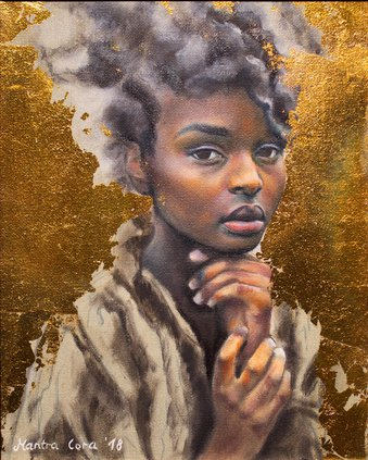 """""""After the Storm,"""" by Mantra Cora, oil and gold leaf on canvas"""