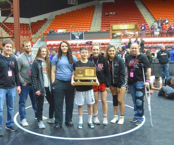 Great Bend's girls earned the runner-up girls state KSHSAA wrestling trophy