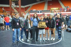 Great Bend's girls earned the runner-up girls state KSHSAA wrestling trophy