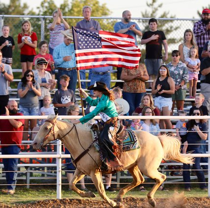 rodeo queen flies the flag Larned 2020