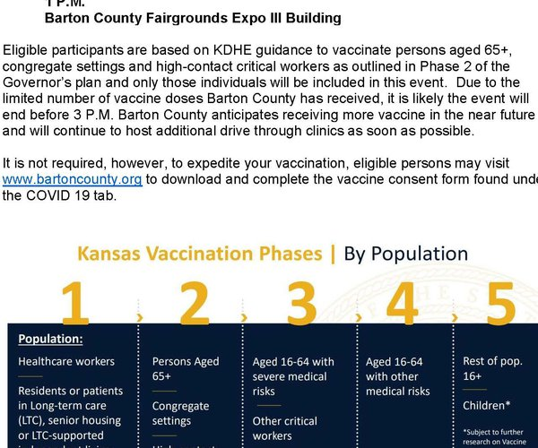 vaccination clinic announcement 1-27-21