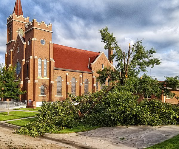 Hoisington storm damage church 2019