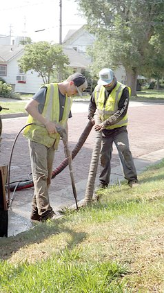 Larned water line work